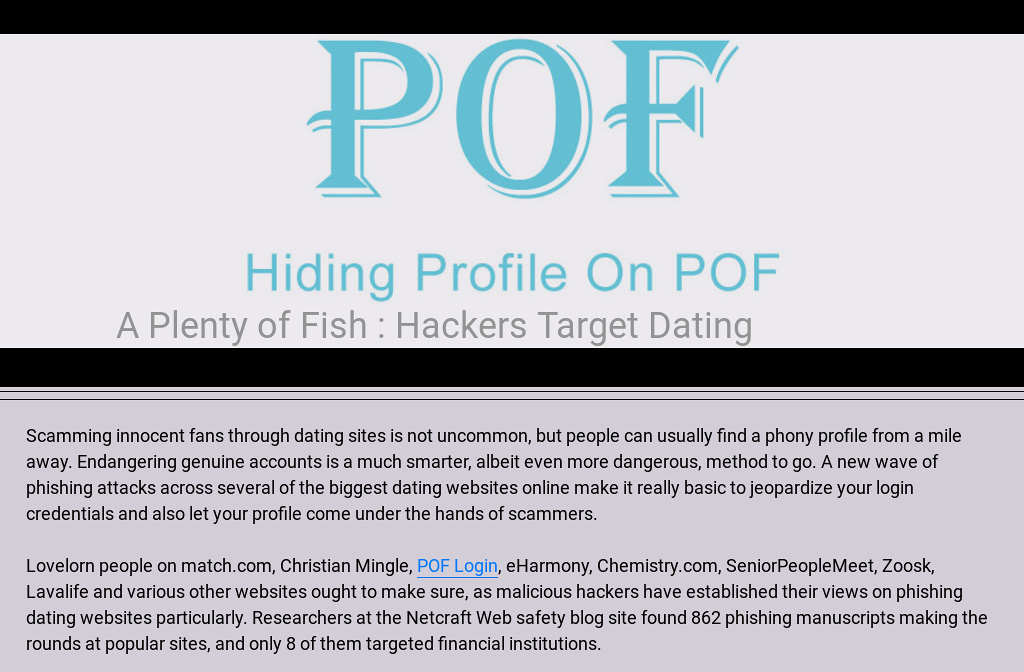 Plenty of fish the dating site
